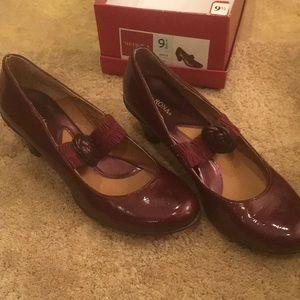 Dark red Mary Jane heels